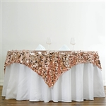 "72"" Premium Big Payette Sequin Overlay For Party Table - Blush"
