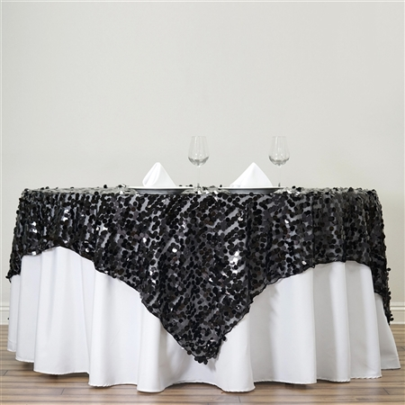 "72"" Premium Big Payette Sequin Overlay For Party Table - Black"