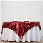 "72"" Premium Big Payette Sequin Overlay For Party Table - Burgundy"