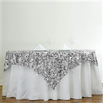 "72"" Premium Big Payette Sequin Overlay For Party Table - Silver"