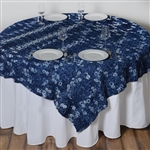 "72""x72"" Triple-Tone Mini-Rosettes Table Overlays - Navy Blue Umbre"