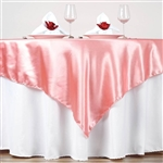"72"" Rose Quartz Wholesale Satin Square Overlay For Wedding Catering Party Table"