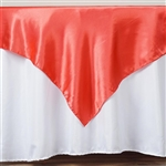 "72"" Coral Wholesale Satin Square Overlay For Wedding Catering Party Table"