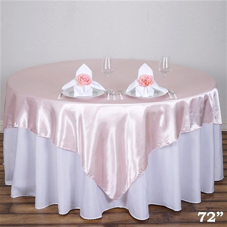 "72"" Blush Wholesale Satin Square Overlay For Wedding Catering Party Table"
