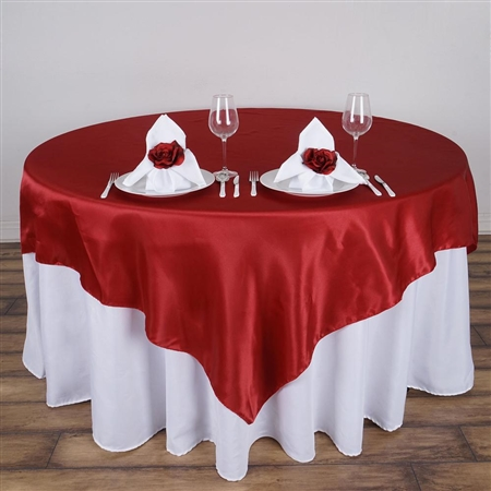 "72"" Wine Wholesale Satin Square Overlay For Wedding Catering Party Table"
