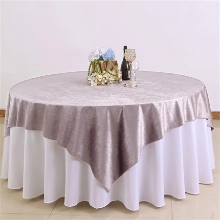 "72"" x 72"" Econoline Velvet Table Overlay - Dusty Rose"