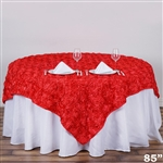 "85""x85"" Grandiose Rosette Table Overlays - Coral"