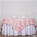 "85""x85"" Grandiose Rosette Table Overlays - Rose Gold/Blush"