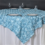 "85""x85"" Grandiose Rosette Table Overlays - Light Blue"