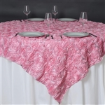 "85""x85"" Grandiose Rosette Table Overlays - Pink"