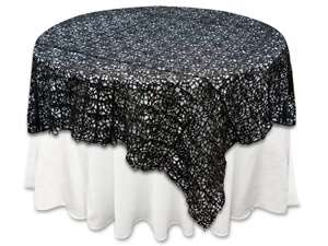 "85""x85"" Sequin Studded Lace Overlay - Black"