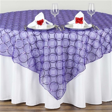 "85x85"" Wedding Purple Organza Overlay with Sequin Circle Designs"