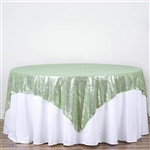 "90""x90"" Grand Duchess Sequin Table Overlays - Tea Green"