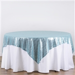 "90""x90"" Grand Duchess Sequin Table Overlays - Serenity Blue"