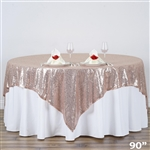 "90""x90"" Grand Duchess Sequin Table Overlays - Blush"