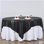 "90""x90"" Grand Duchess Sequin Table Overlays - Black"