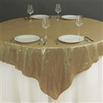 "90""x90"" Grand Duchess Sequin Table Overlays - Champagne"