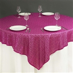 "90""x90"" Grand Duchess Sequin Table Overlays - Fuchsia"