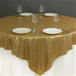 "90""x90"" Grand Duchess Sequin Table Overlays - Gold"