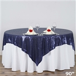 "90""x90"" Grand Duchess Sequin Table Overlays - Navy"
