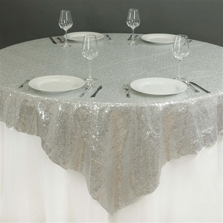 "90""x90"" Grand Duchess Sequin Table Overlays - Silver"