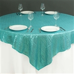 "90""x90"" Grand Duchess Sequin Table Overlays - Turquoise"