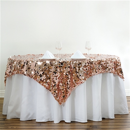 "90"" Blush Big Payette Sequin Square Overlay For Party Table Decorations"