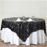 "90"" Black Big Payette Sequin Square Overlay For Party Table Decorations"