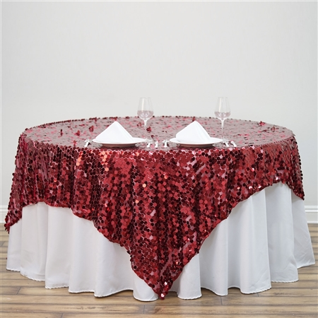 "90"" Burgundy Big Payette Sequin Square Overlay For Party Table Decorations"