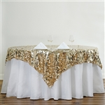 "90"" Champagne Big Payette Sequin Square Overlay For Party Table Decorations"