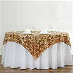 "90"" Gold Big Payette Sequin Square Overlay For Party Table Decorations"