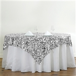 "90"" Silver Big Payette Sequin Square Overlay For Party Table Decorations"