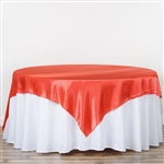 "90"" Coral Seamless Satin Square Tablecloth Overlay"