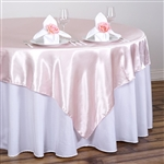 "90"" Rose Gold Seamless Satin Square Tablecloth Overlay"