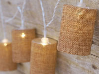 LED Burlap Barrel Fairy Lights