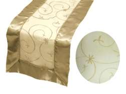 Embroidered Table Runner - Champagne