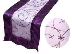Embroidered Table Runner - Eggplant