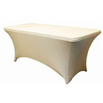 6 Ft Rectangular Spandex Table Cover - Ivory