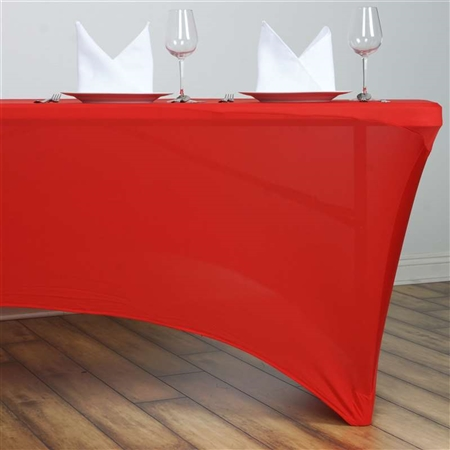 6FT Rectangular Spandex Table Cover - Red
