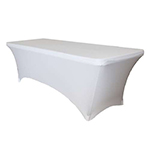 6 Ft Rectangular Spandex Table Cover - White