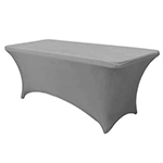 6 Ft Rectangular Spandex Table Cover - Silver