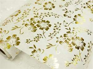 "A Flower Escape Non-Woven Fabric Bolt Gold/White 19""x10Yards"