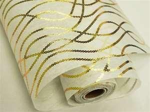 "FRIENDSHIP CHAINS Non-Woven Fabric Bolt Gold/White 19""x10Yards"