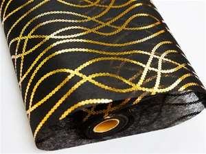 "FRIENDSHIP CHAINS Non-Woven Fabric Bolt Gold/Black 19""x10Yards"