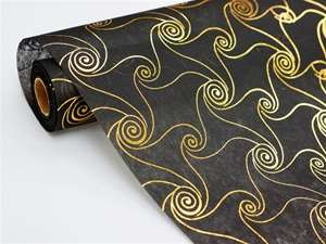 "FAIR WINDS & GENTLE SEAS Non-Woven Fabric Bolt Gold/Black 19""x10Yards"