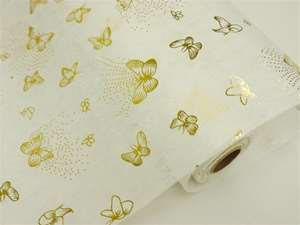 "BUTTERFLY EXPLOSION Non-Woven Fabric Bolt Gold/White 19""x10Yards"