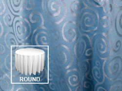 "Rental Metallic Scroll 120"" Round Tablecloth"