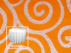 "Rental Metallic Scroll 132"" Round Tablecloth"