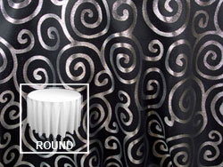 "Rental Metallic Scroll 90"" Round Tablecloth"