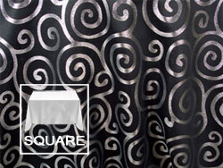 "Rental Metallic Scroll 90"" x 90"" Square Tablecloth"